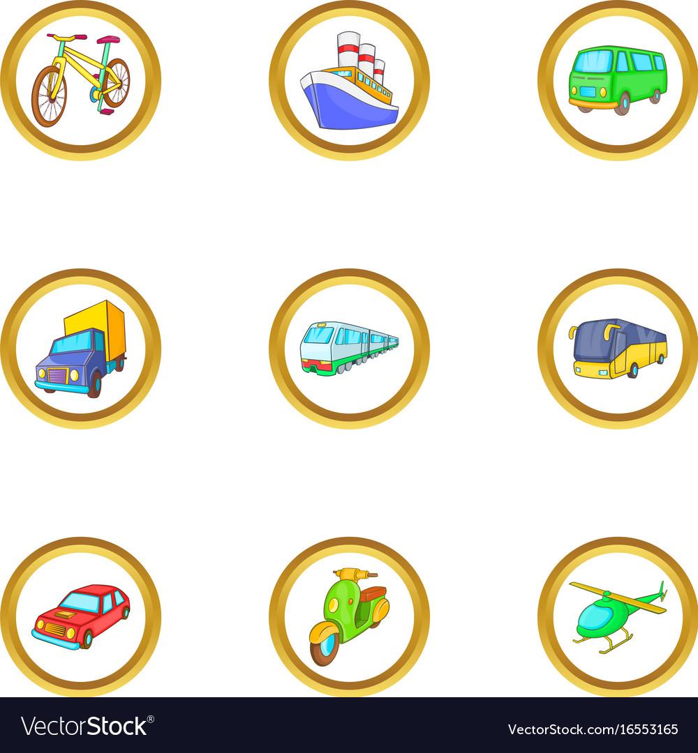 Urban vehicle icons set cartoon style