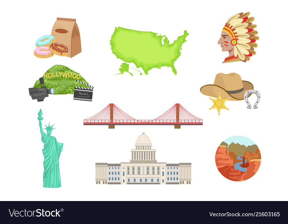 Usa national symbols set of items isolated