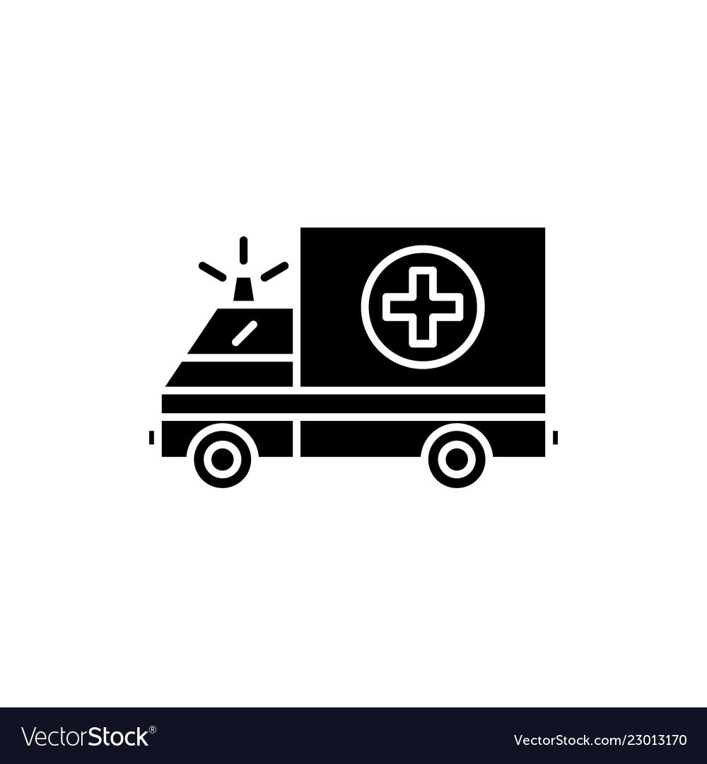 Ambulance black icon sign on isolated