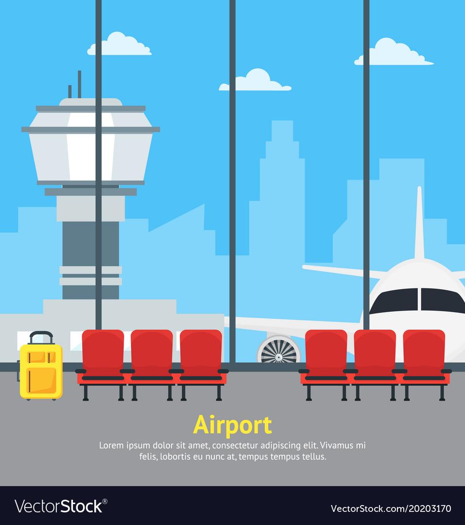 cartoon airport waiting interior of terminal hall vector image rh vectorstock com cartoon airport video cartoon airport liquids