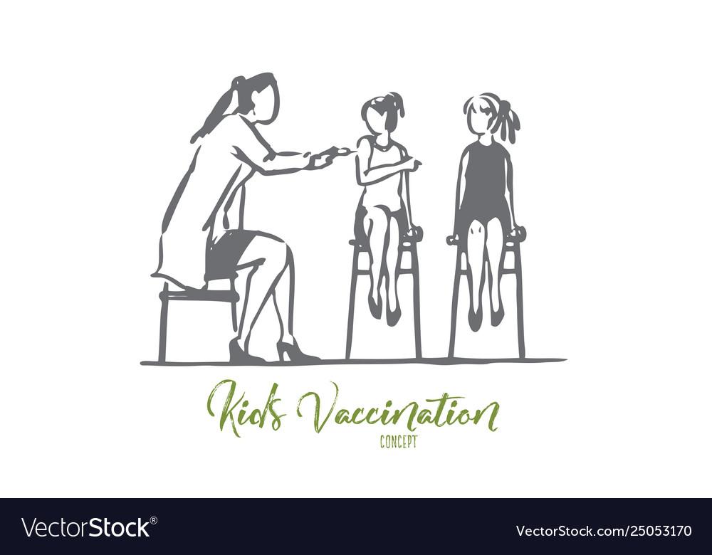 Children girl doctor vaccine health clinic