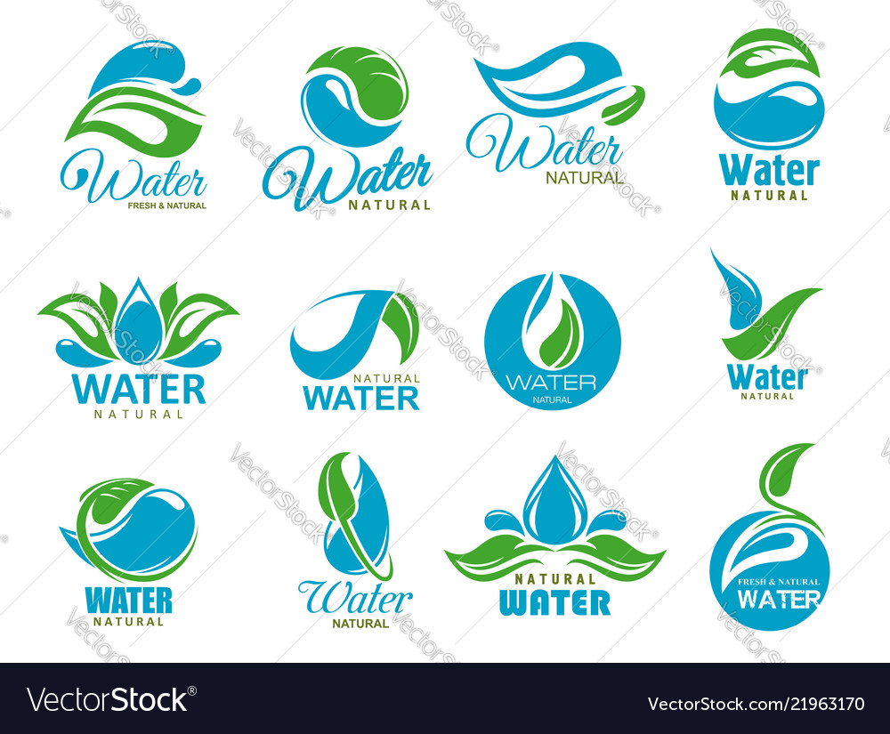 Clean water icons with blue drops and green leaf