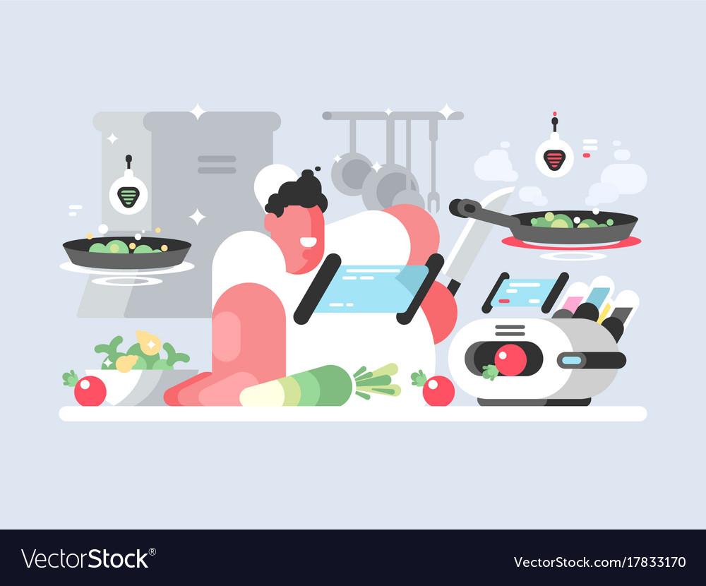 Cook in white cap prepares delicious dish vector image