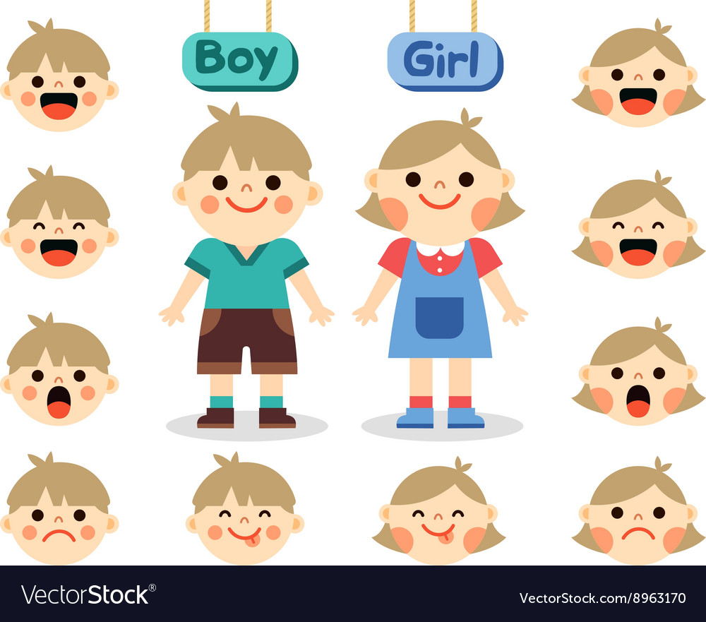 Cute girl and boy with different emotions