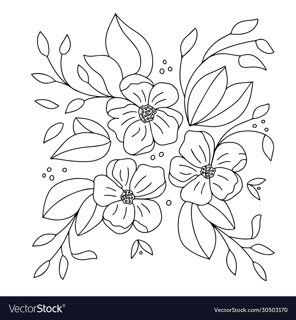 Drawing Simple Flowers On A White Background Vector Image