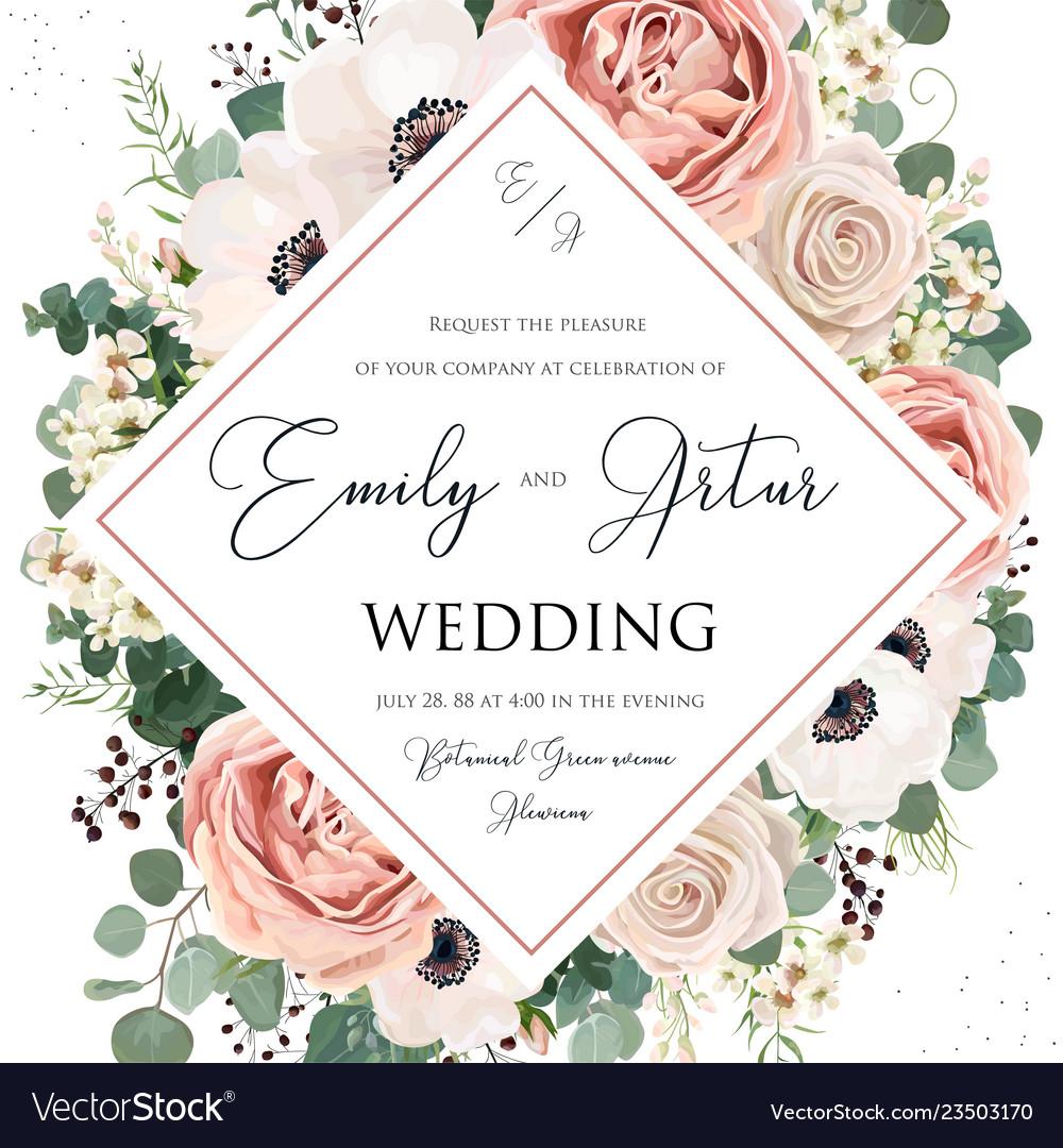 Floral Wedding Invitations.Floral Wedding Invitation Elegant Invite Card Vector Image