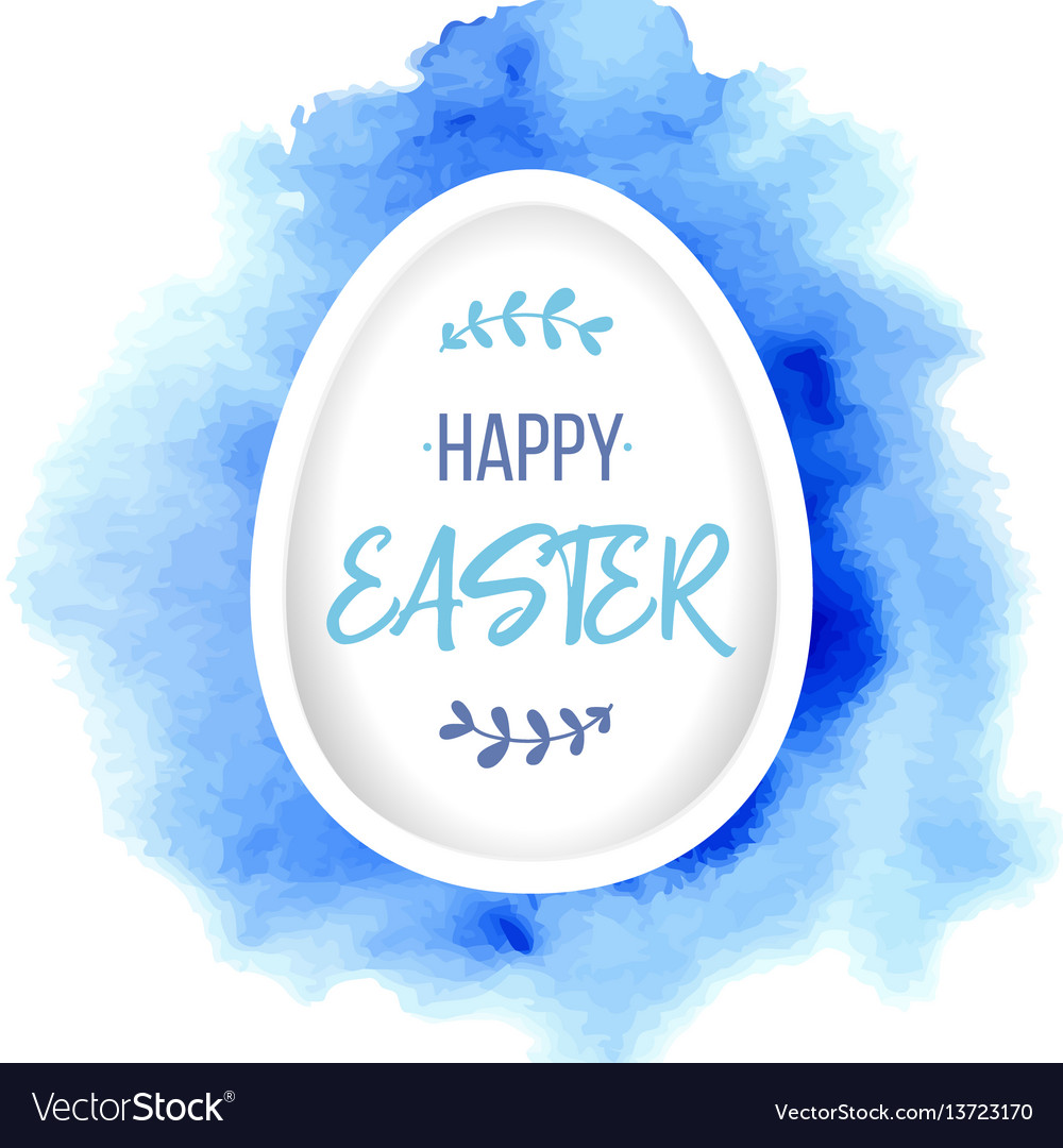 Happy easter greeting paper egg with lettering on
