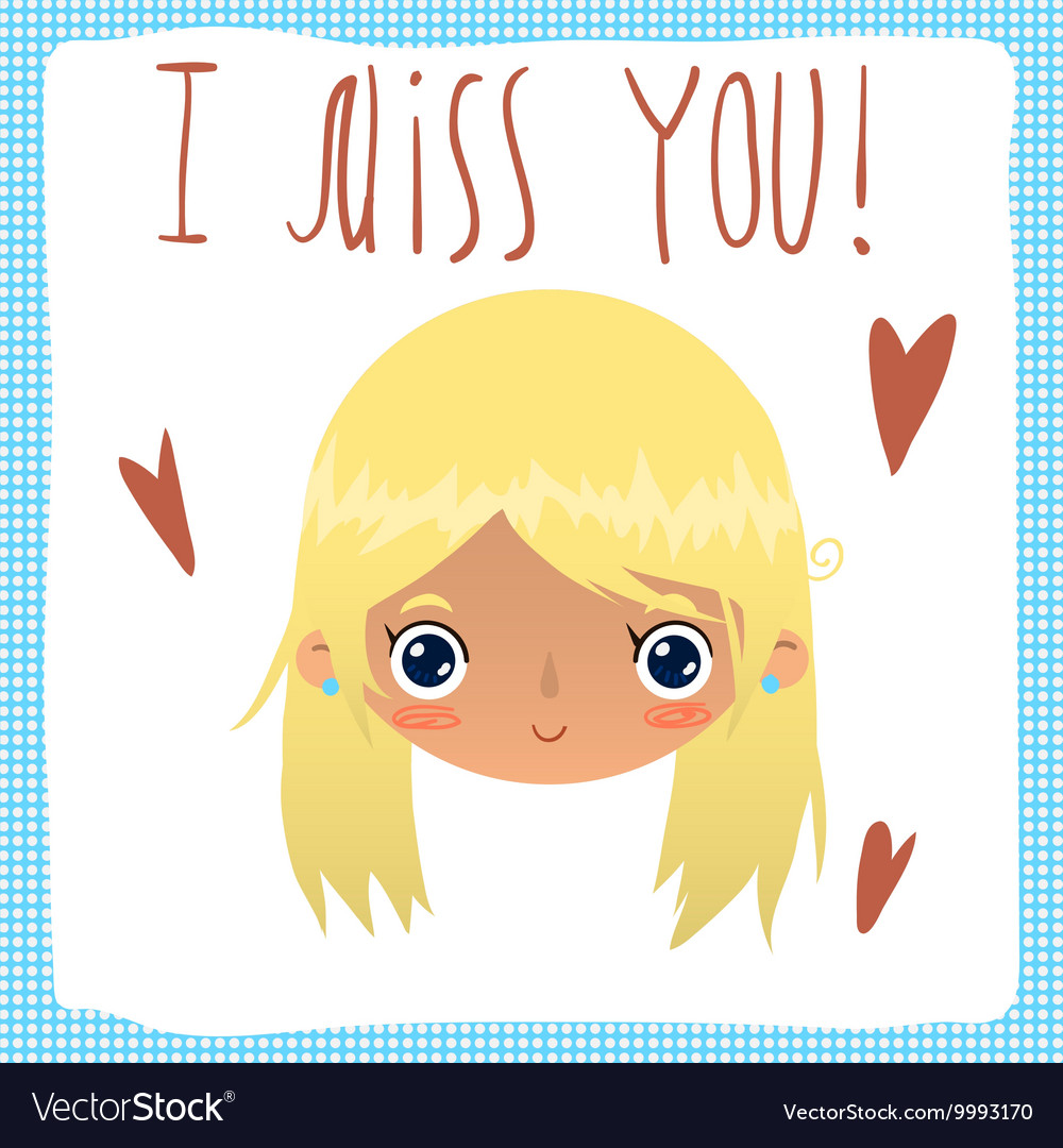 I Miss You Flat Greeting Card Royalty Free Vector Image
