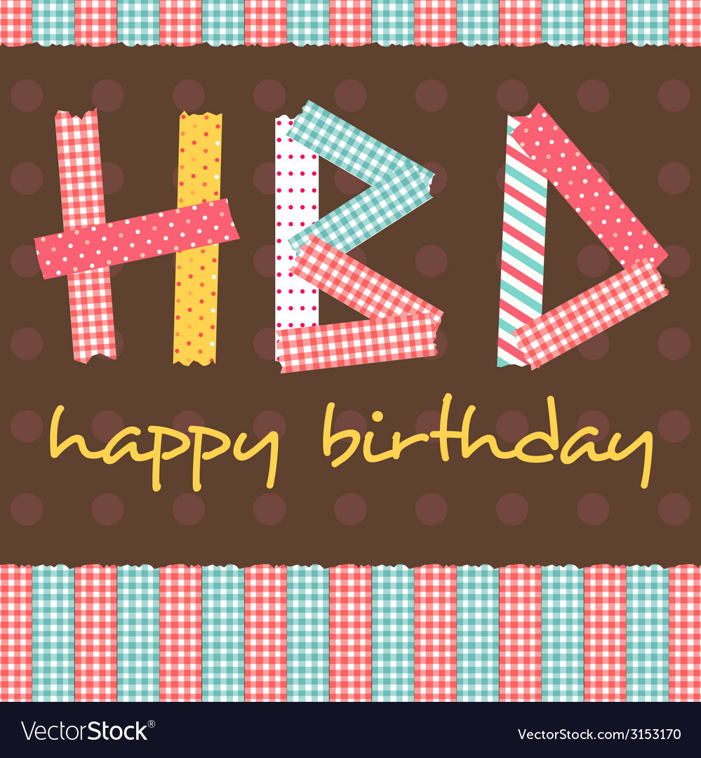 Masking tape HBD card vector image