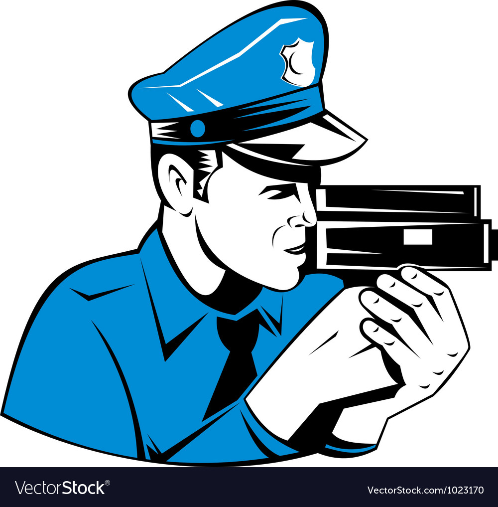 Policeman Police Officer Speed Camera vector image