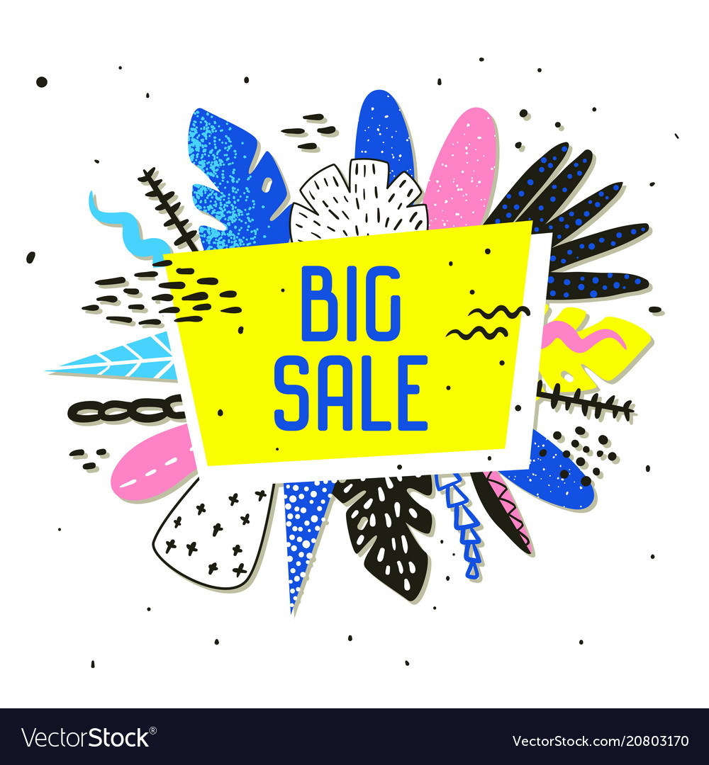 Sale promotional banner with abstract elements