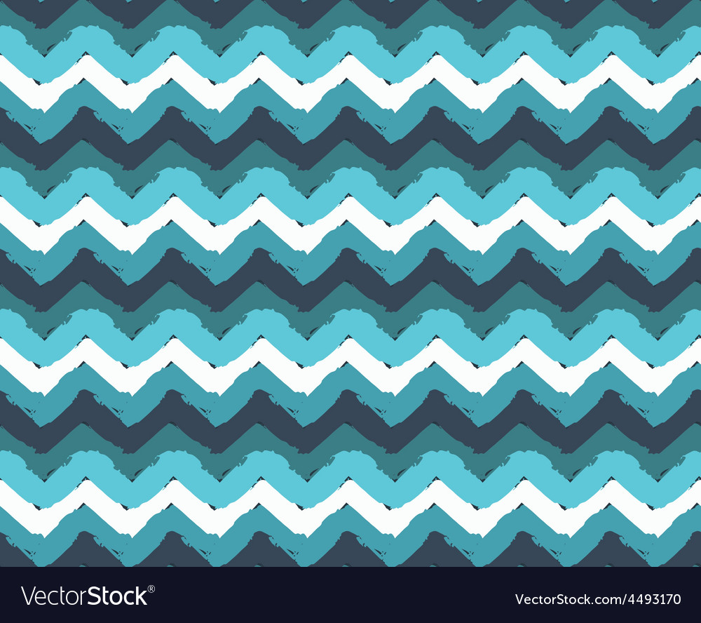 Sea Painted Zigzag Pattern vector image