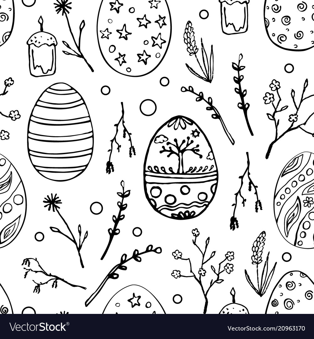Seamless easter pattern with doodle ornamental