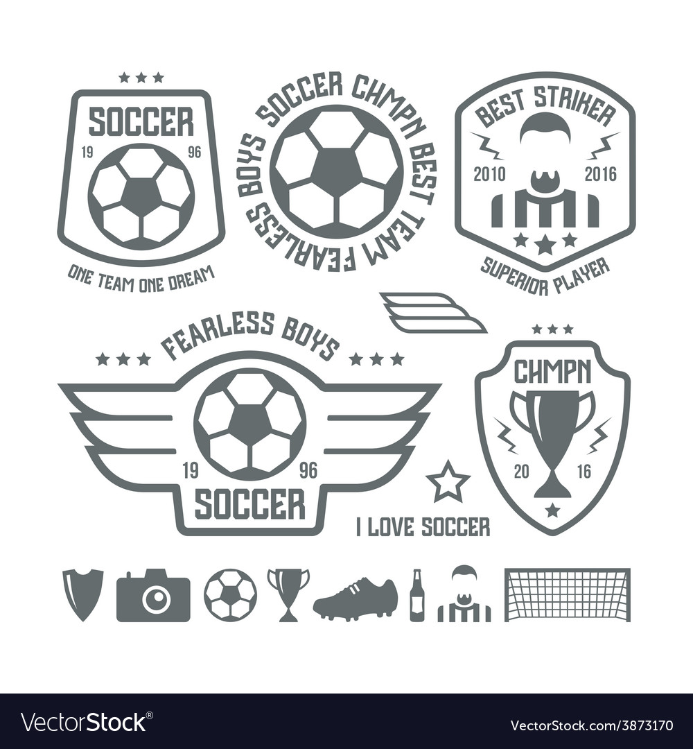 Set soccer emblems and icons