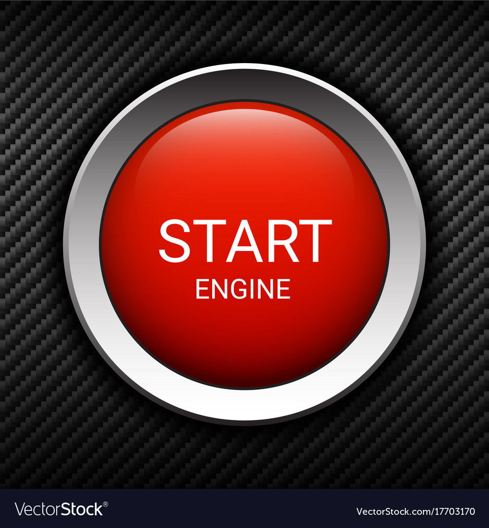 Start Engine Button On Carbon Background Vector Image