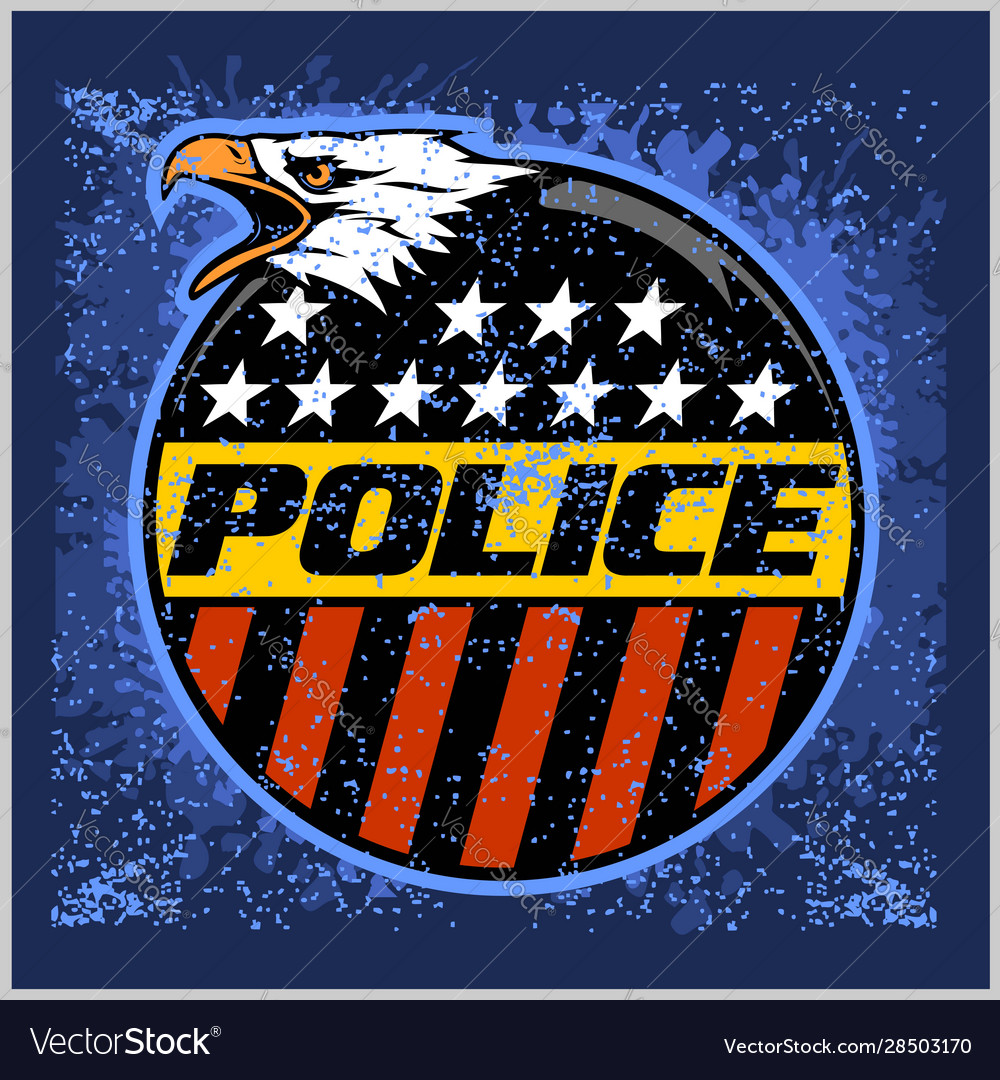 Usa police badge and shield label on grunge