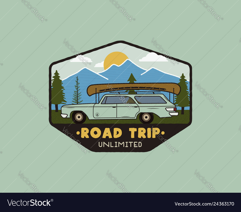 Vintage hand drawn road trip logo patch with