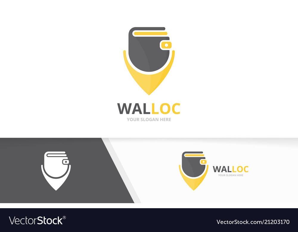 Wallet and map pointer logo combination