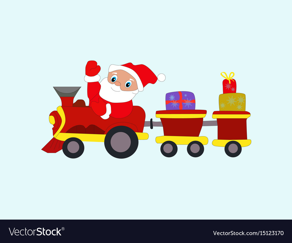 Winter new year christmas santa claus in train vector image