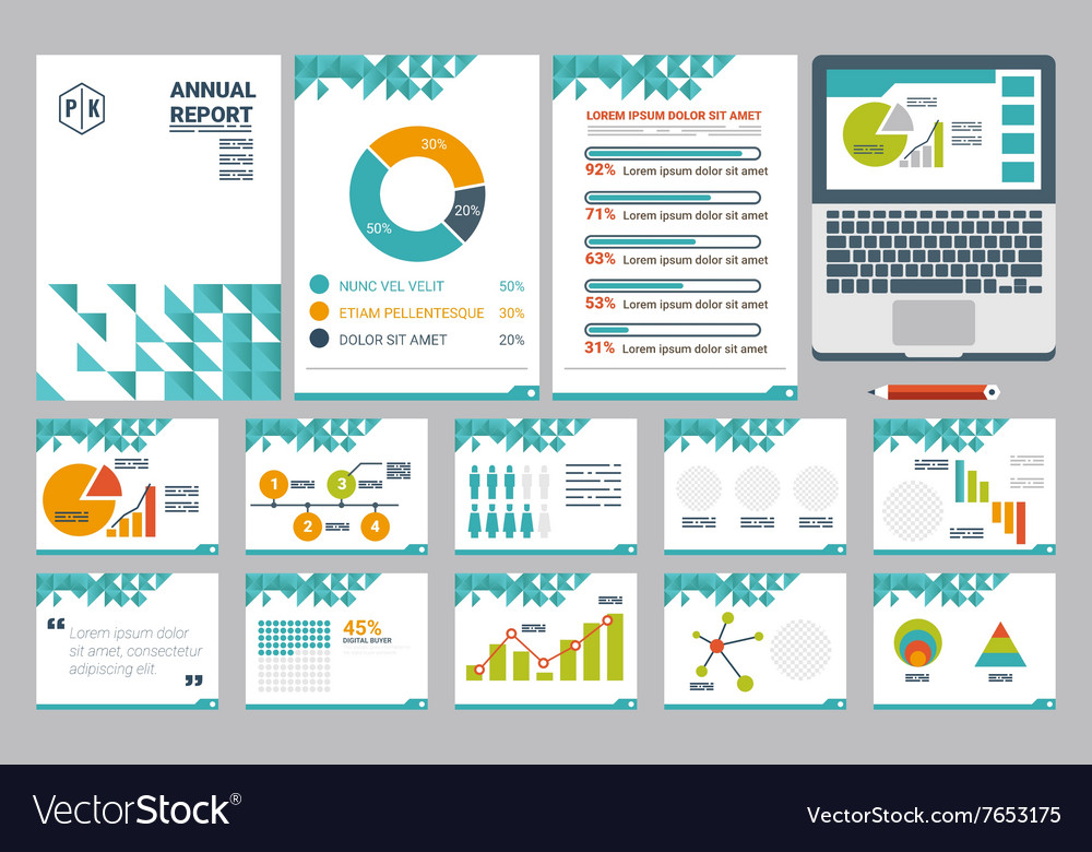 annual report cover a4 sheet and presentation vector image