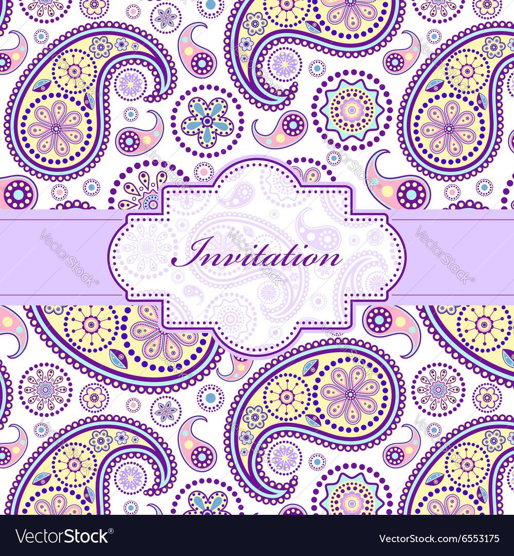 Colorful floral invitation card