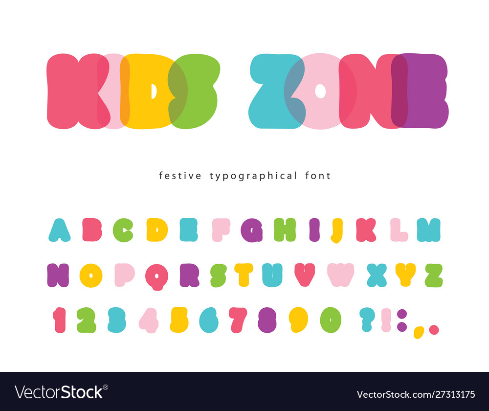 Comic font for kids funny colorful abc letters