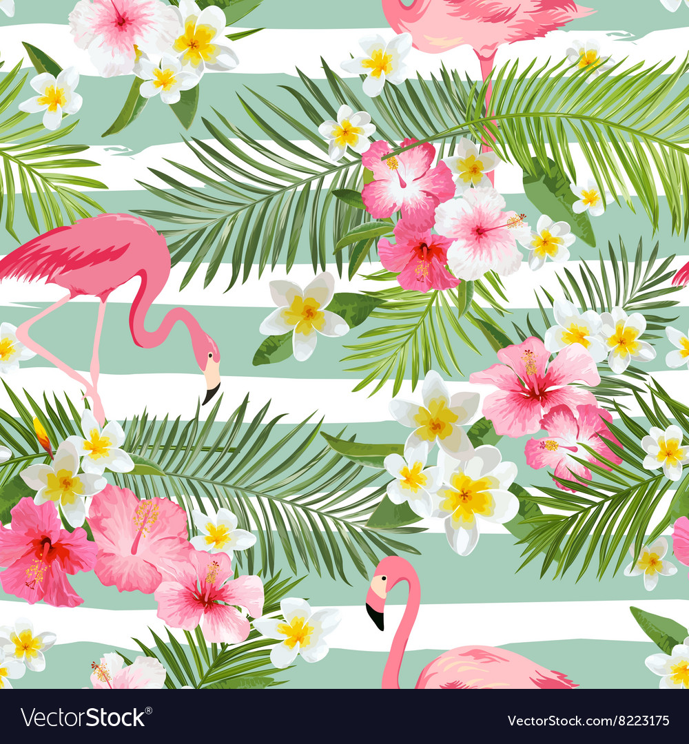 Flamingo Background Tropical Flowers vector image