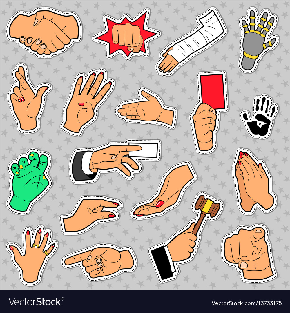 Hands and arms set with different signs vector image