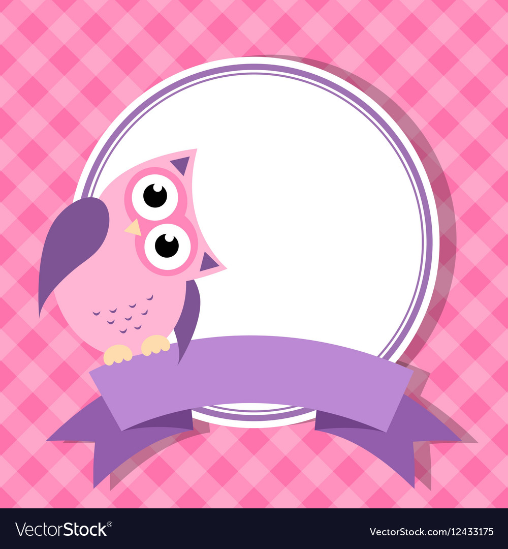 Pink frame with owl for invitation card Royalty Free Vector