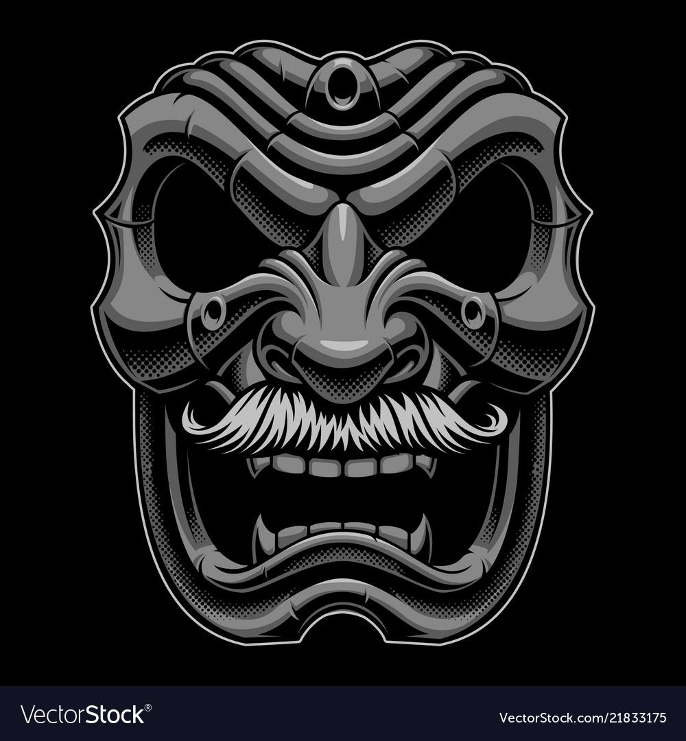 Samurai mask with mustahce