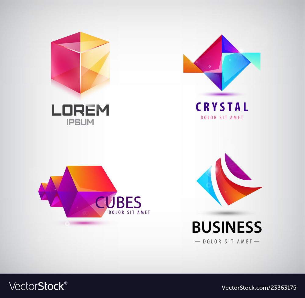 Set of abstract geometric 3d logos shapes