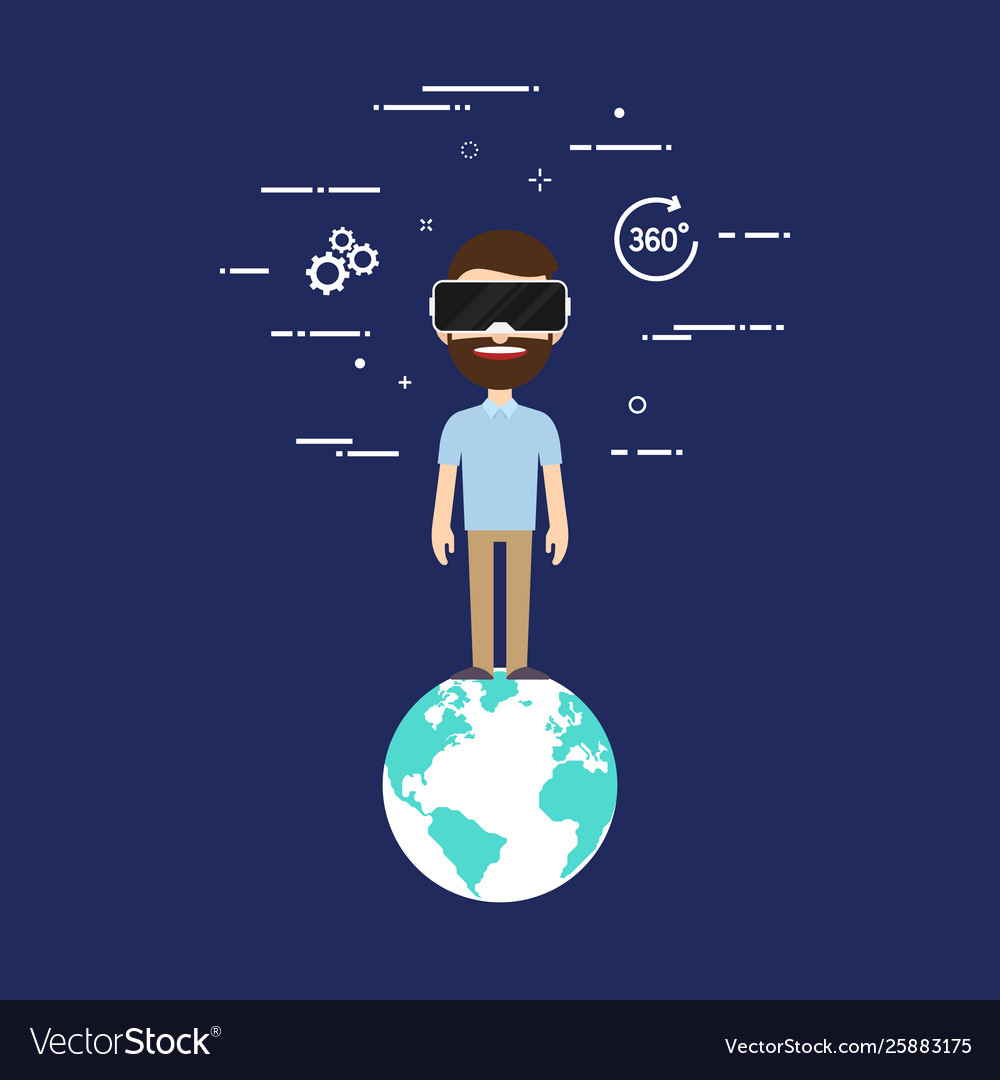 Virtual reality technology concept flat design