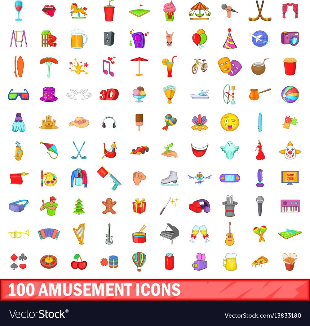 100 amusement icons set cartoon style