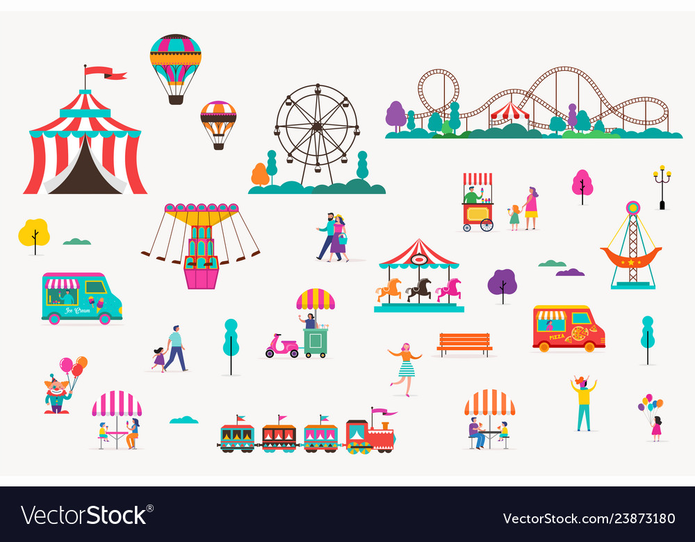 Amusement park with carousels air balloons and