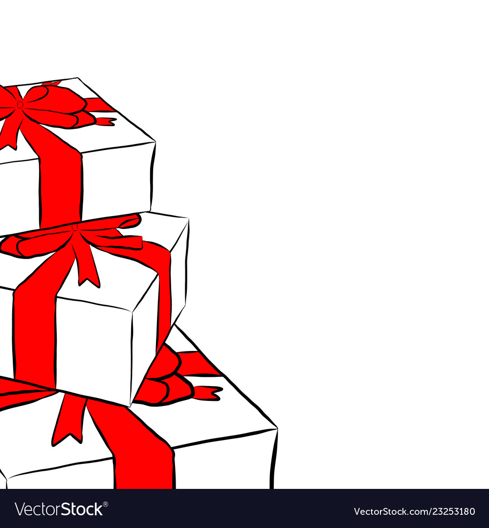 Boxes with gifts and bows
