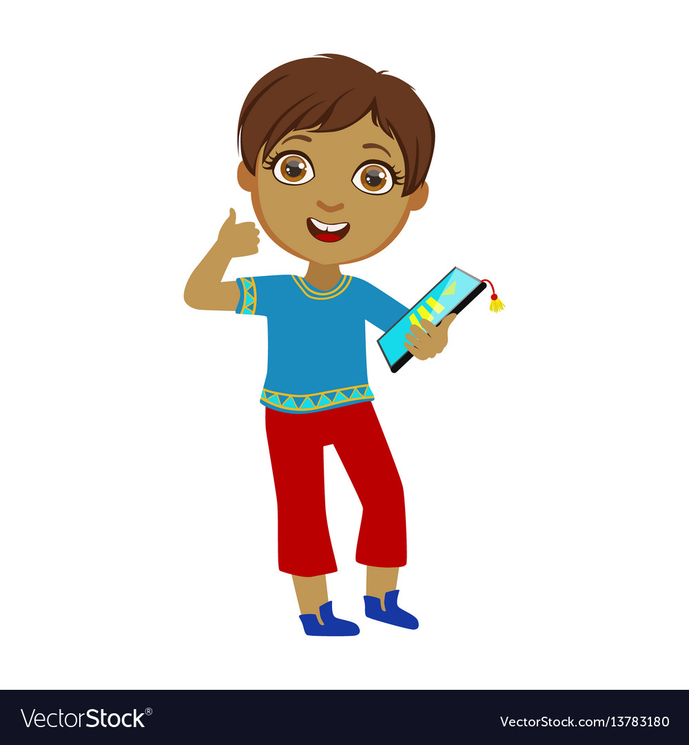Boy holding tablet and showing thumbs up part of