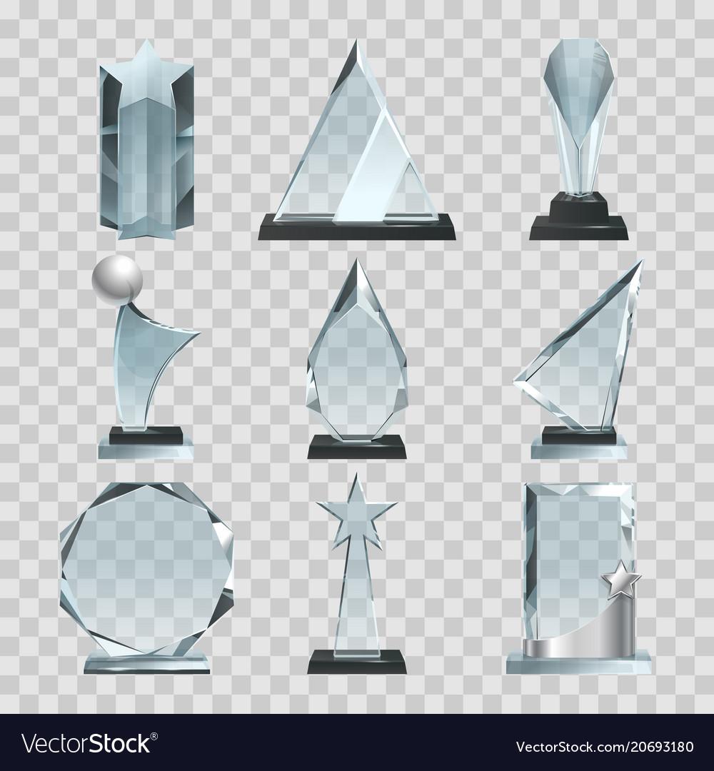 Crystal glass trophy or awards on transparent