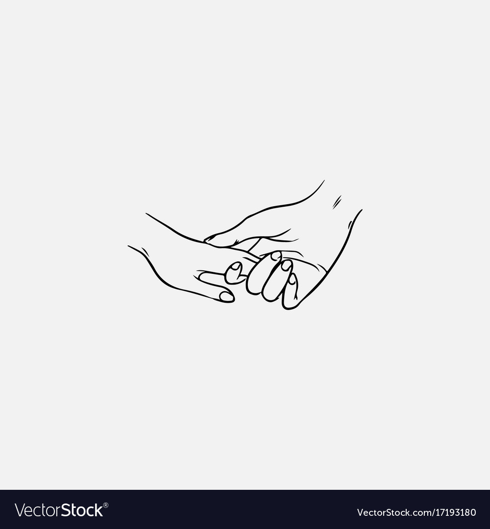 Drawing of holding hands isolated on white vector image