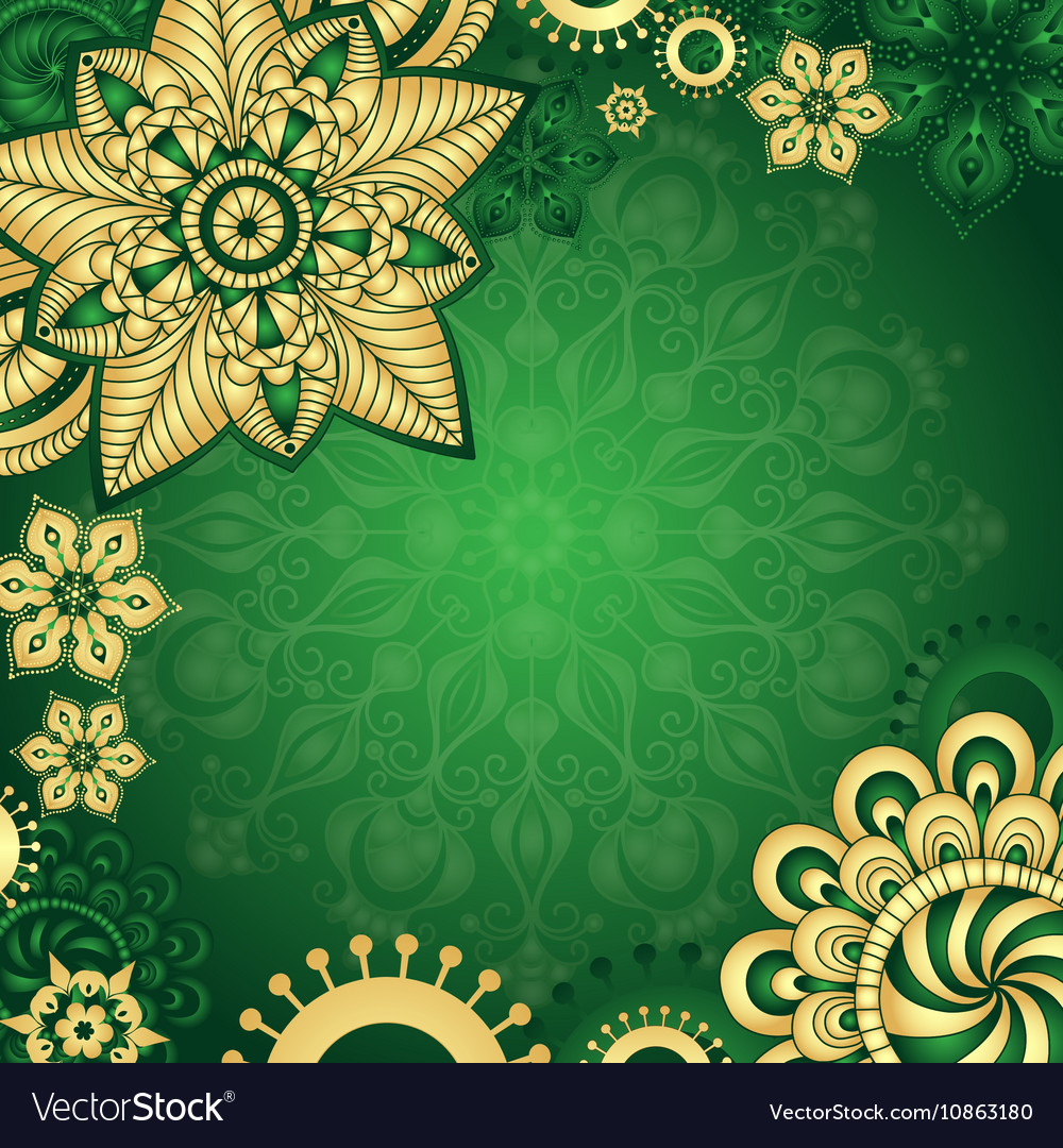 Gold Green Vintage Frame Royalty Free Vector Image