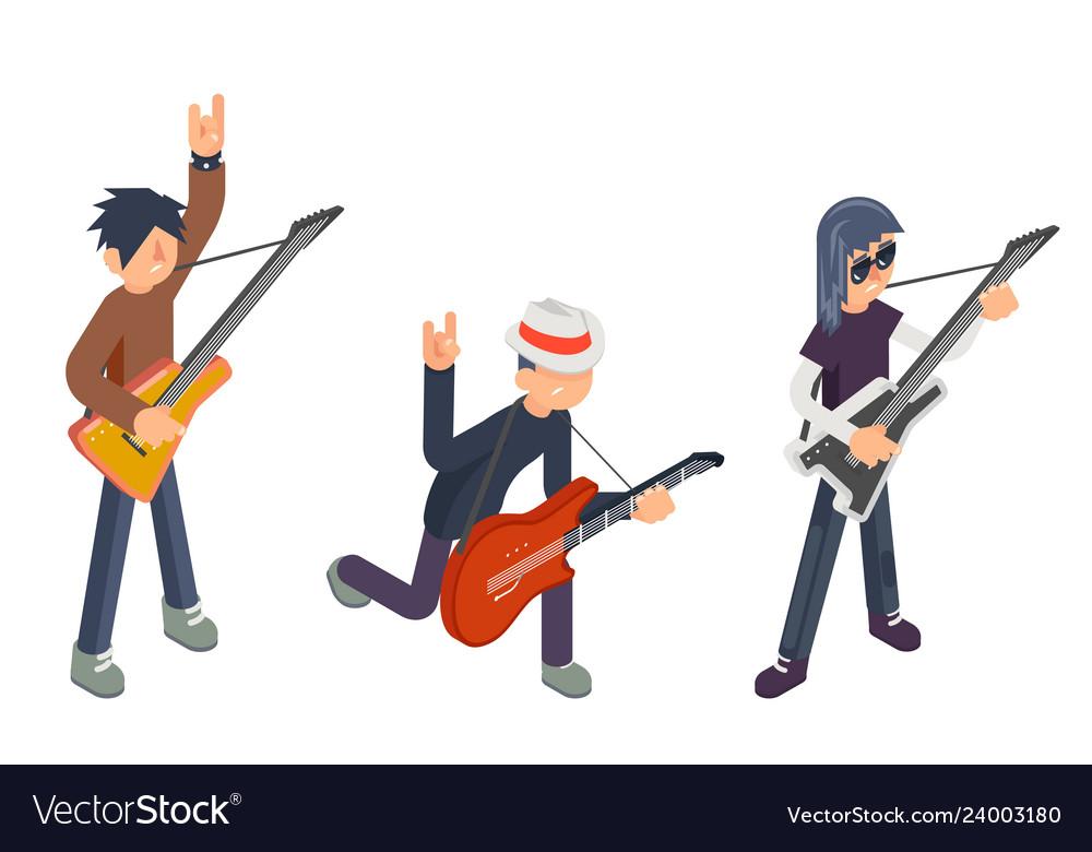 Guitar player popular modern performer isometric