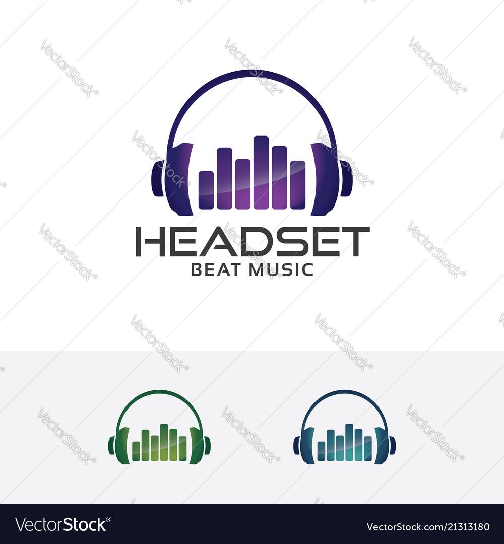 Headset beat logo design
