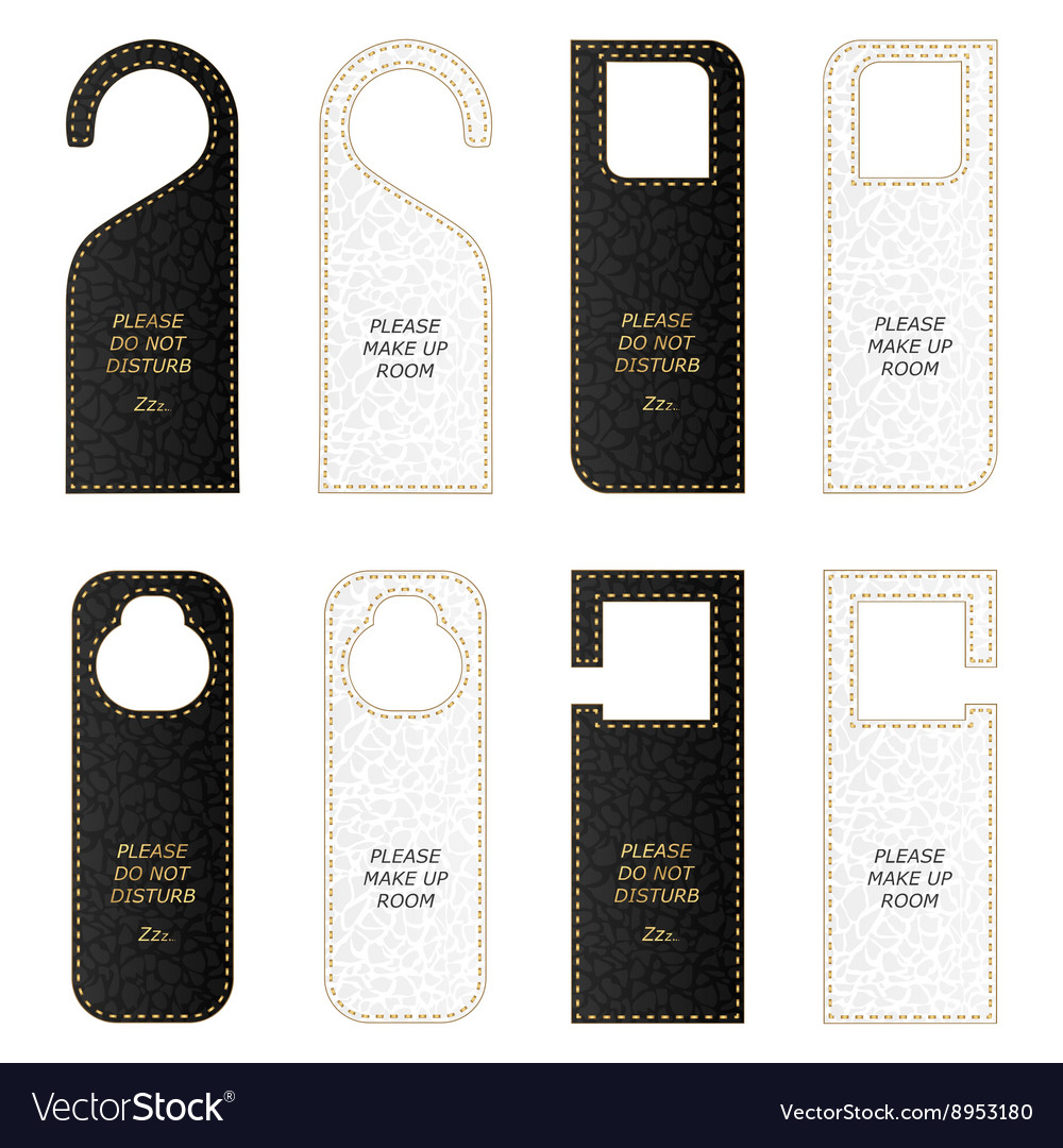 Set of eight VIP leather tag on the door with gold