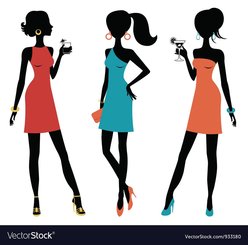 Three chick women vector image