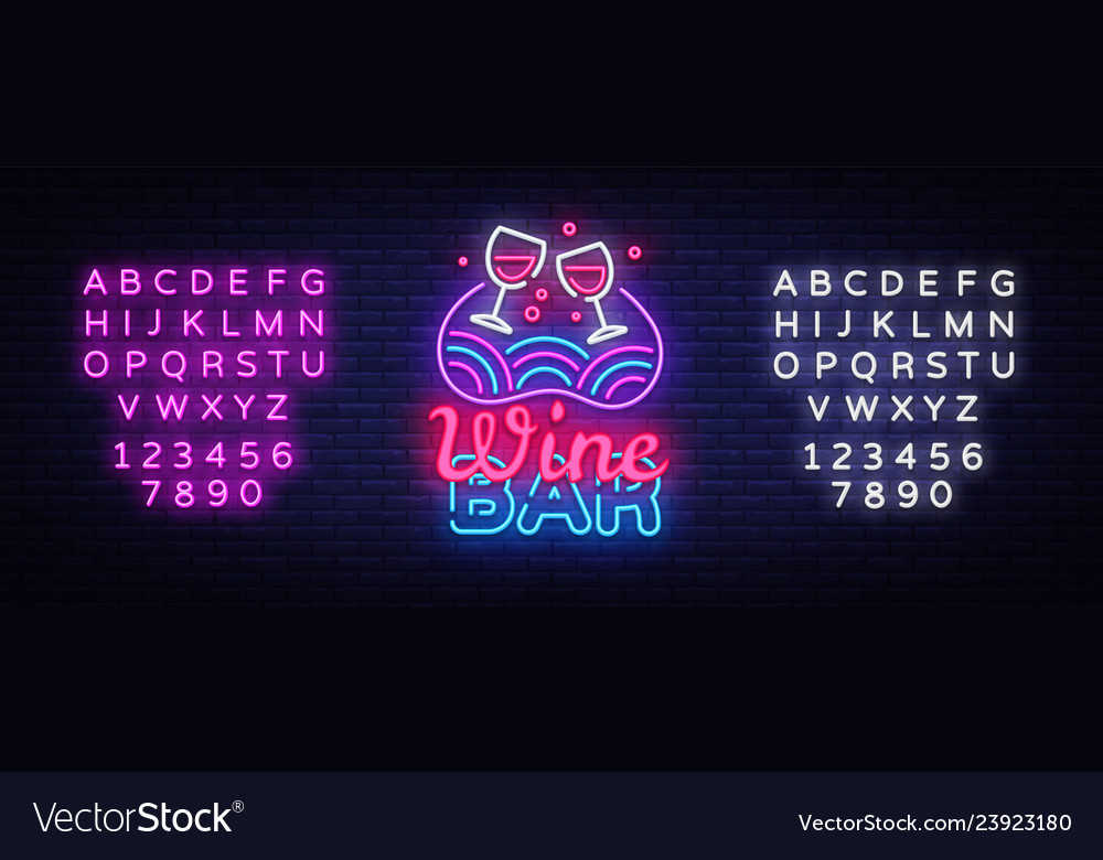 Wine bar neon sign wine shop design
