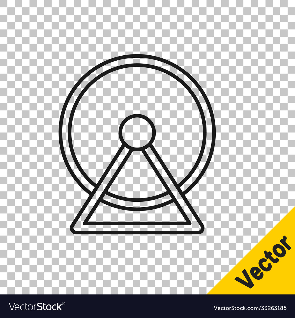 Black line hamster wheel icon isolated on