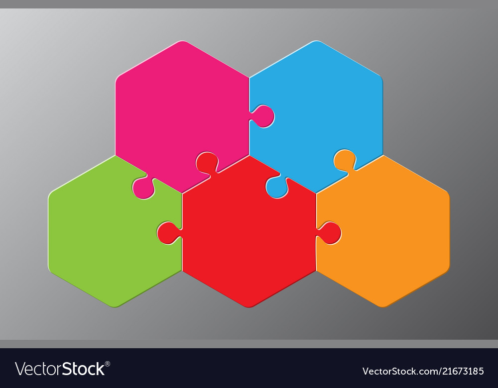Five piece puzzle hexagon diagram puzzle 3 step