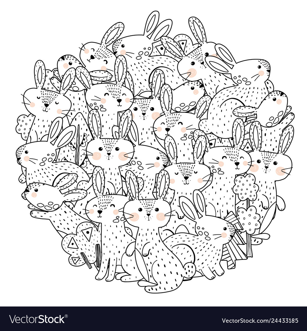 Funny rabbits circle shape pattern for coloring bo vector