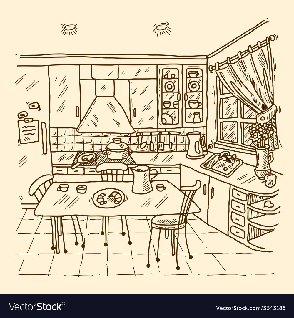 Kitchen Interior Sketch Royalty Free Vector Image