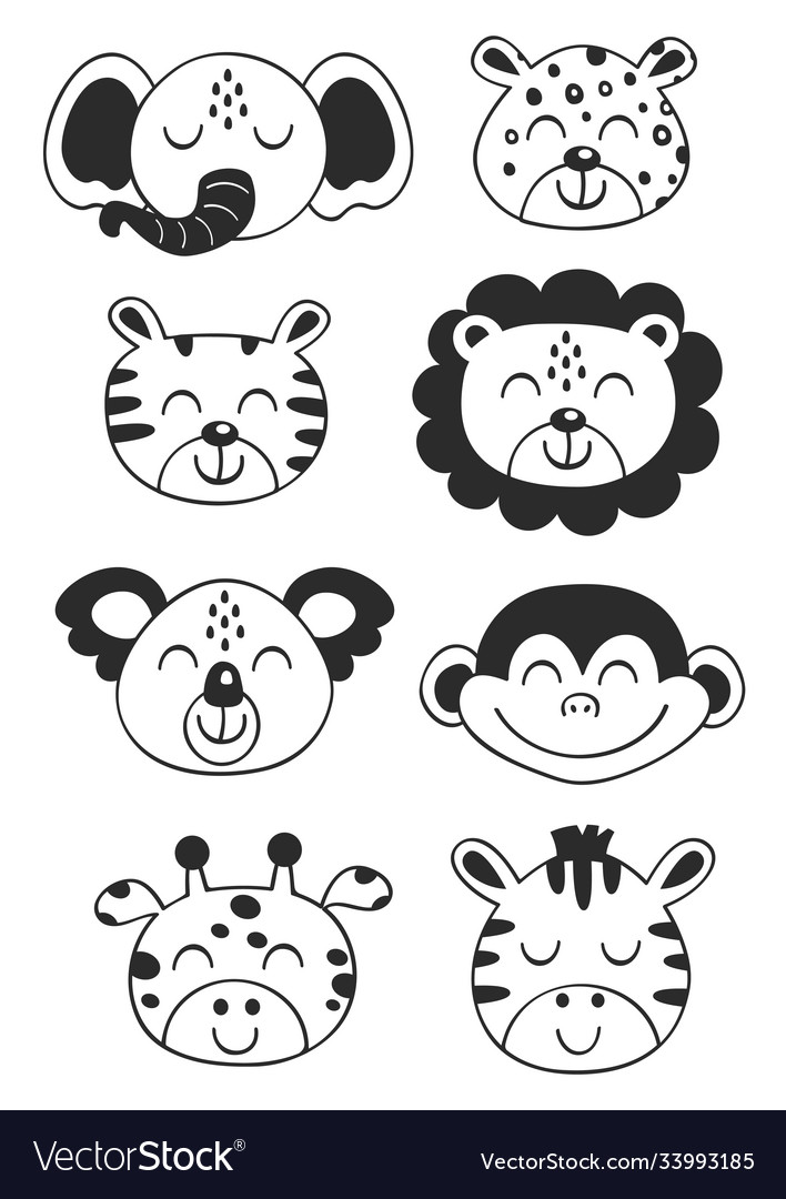 Set isolated tropical black animal faces