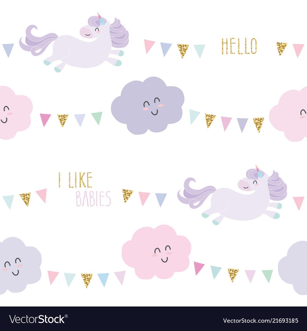 Unicorn bithday seamless pattern background